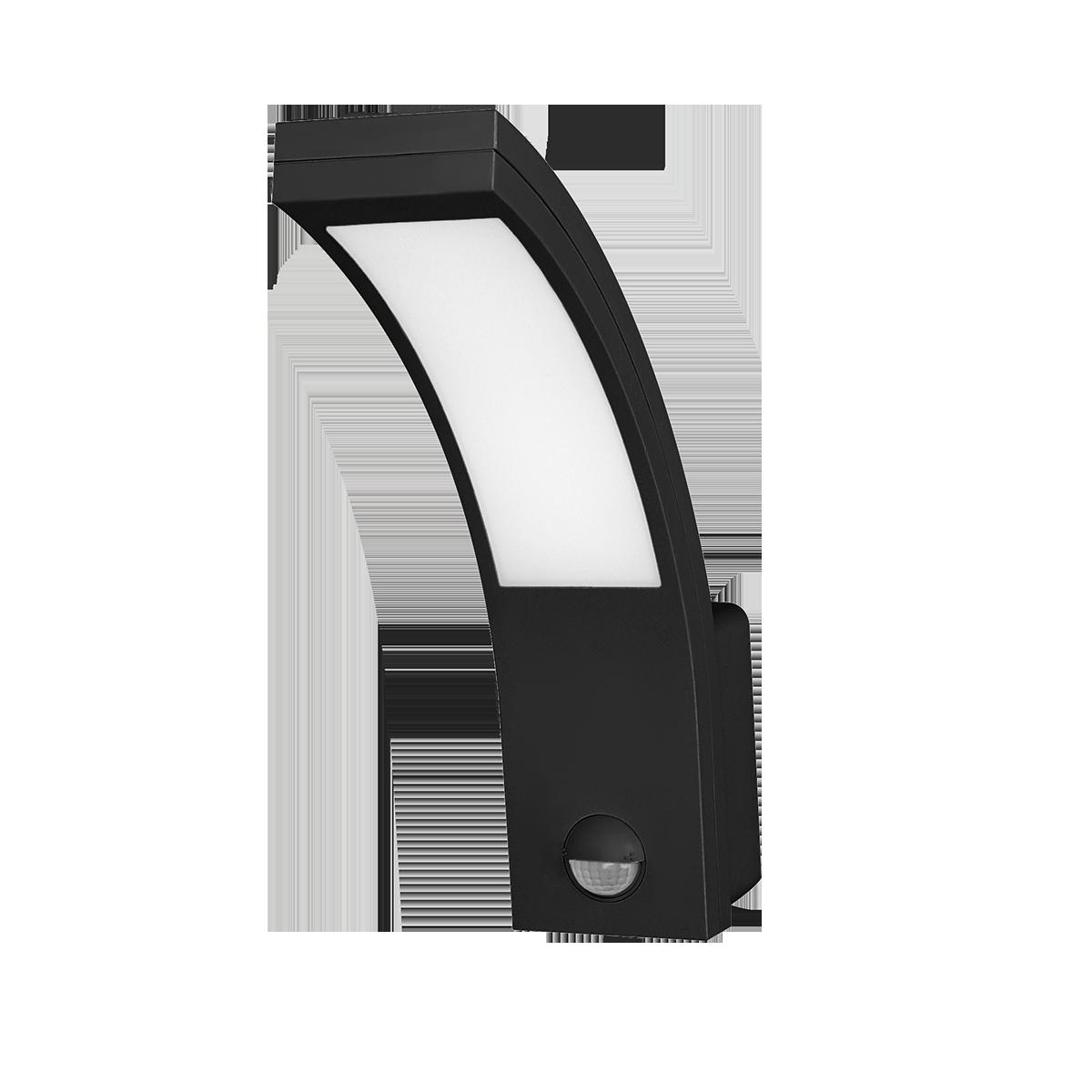 PIRYT LED 10W, oprawa ogrodowa z czujnikiem ruchu 140st, 850lm, IP54, 4000K, czarna